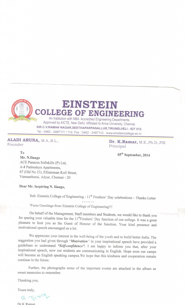 Thanks giving letter to inspirng ilango -Einstein college