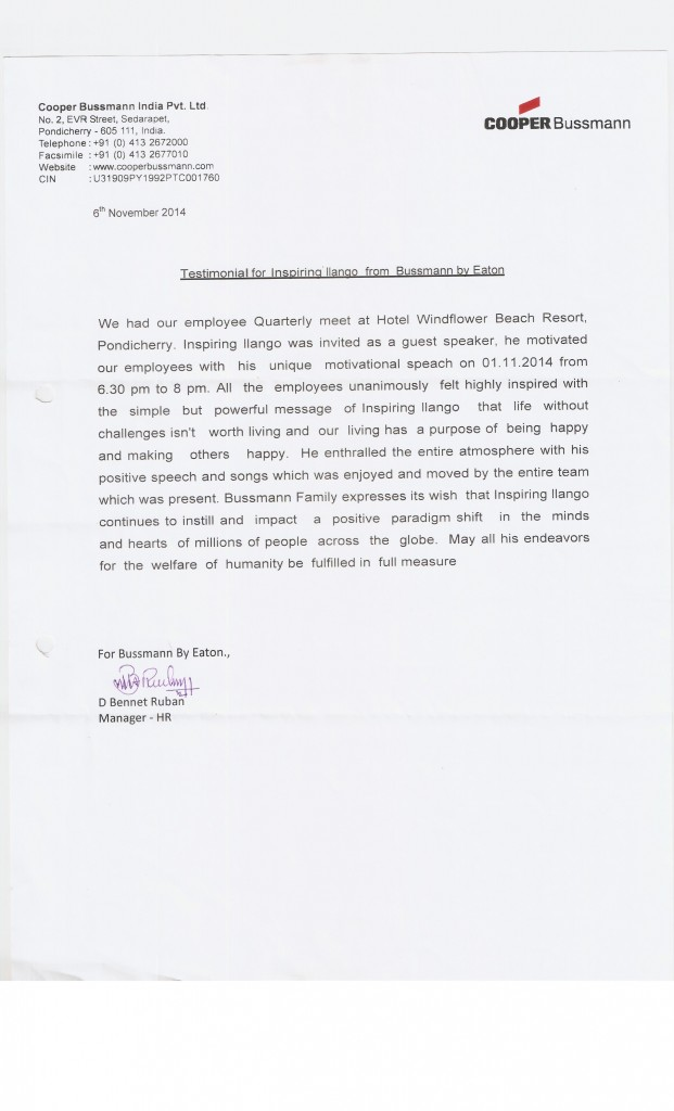 Testimonial for inspiring ilango from COOPER BUSSMAN INDIA PVT LTD