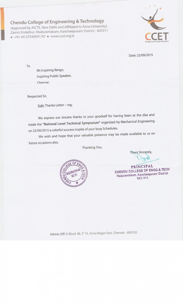 Thanks letter from Chendu college of Engineering and technology